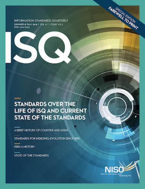 Cover of Information Standards Quarterly 27/ 2& 3, Summer & Fall 2015
