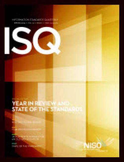Cover of Information Standards Quarterly, Spring 2013