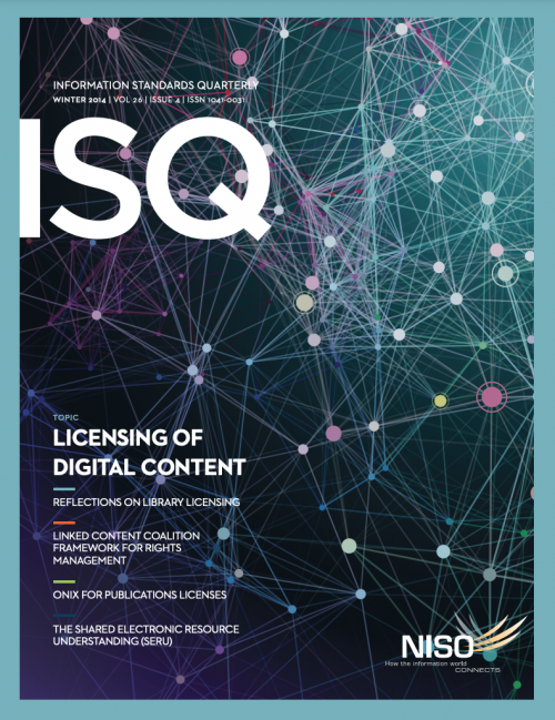 Cover of Information Standards Quarterly, Winter 2014
