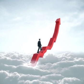 Man Climbing Up the Clouds
