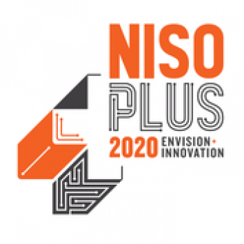 Orange and black graphic logo for NISO Plus 2020 Conference